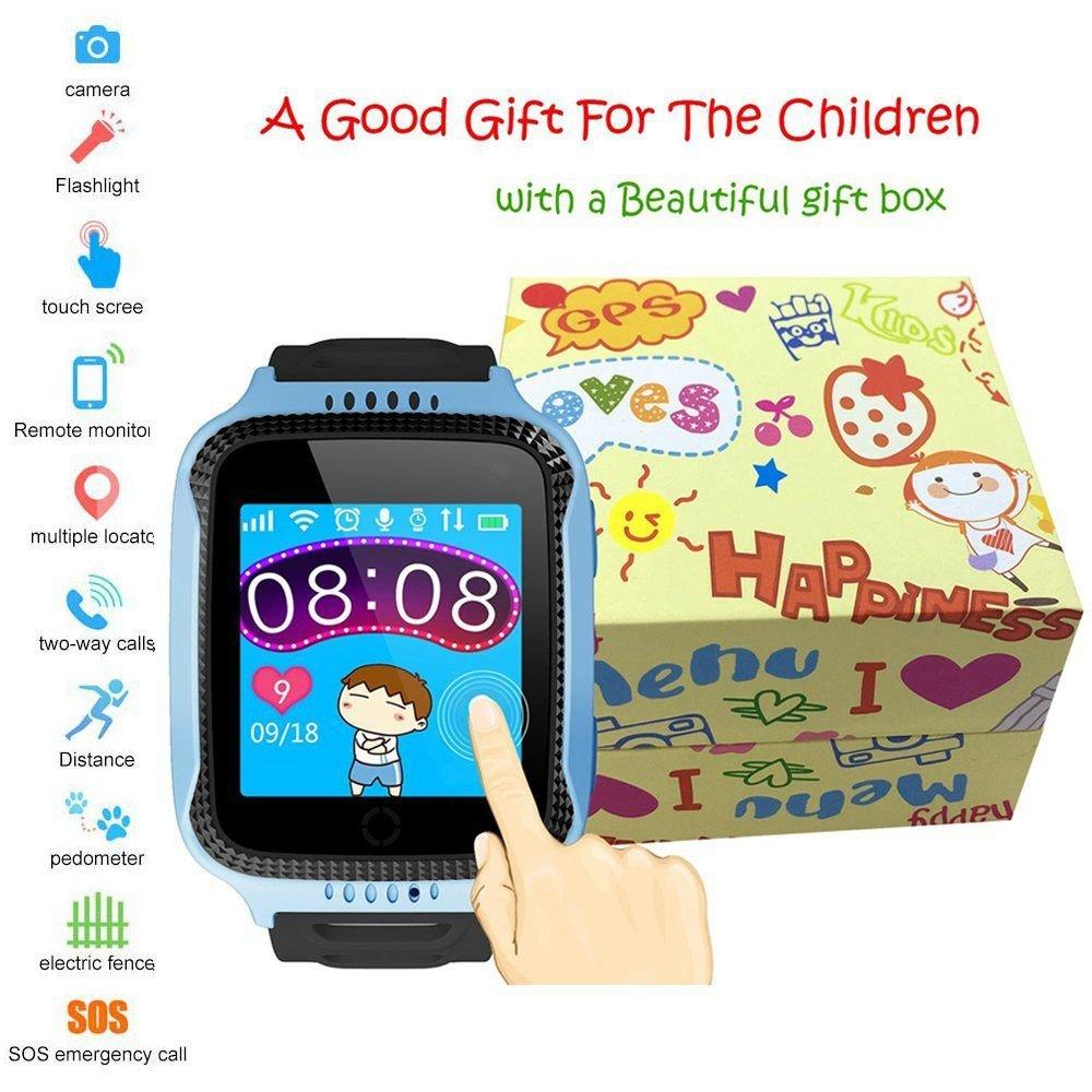 SODIAL Reloj inteligente GPS para ninos para ninos Regalos de Navidad con pantalla tactil Camara Podometro Anti-perdida SOS Compatible para iPhone Android ...