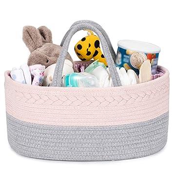 Baby Diaper Caddy Organizer 100/% Cotton Rope Nursery Diaper Storage Basket Diaper Storage Bin for Diaper Wipes Baby Essentials