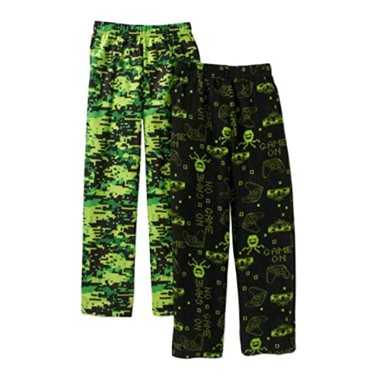 Faded Glory Boys Micro Fleece Video Game & Black/Green Pattern 2 Pack Pajama Pants