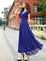Royal Blue Long Dress with Cape Sleeve