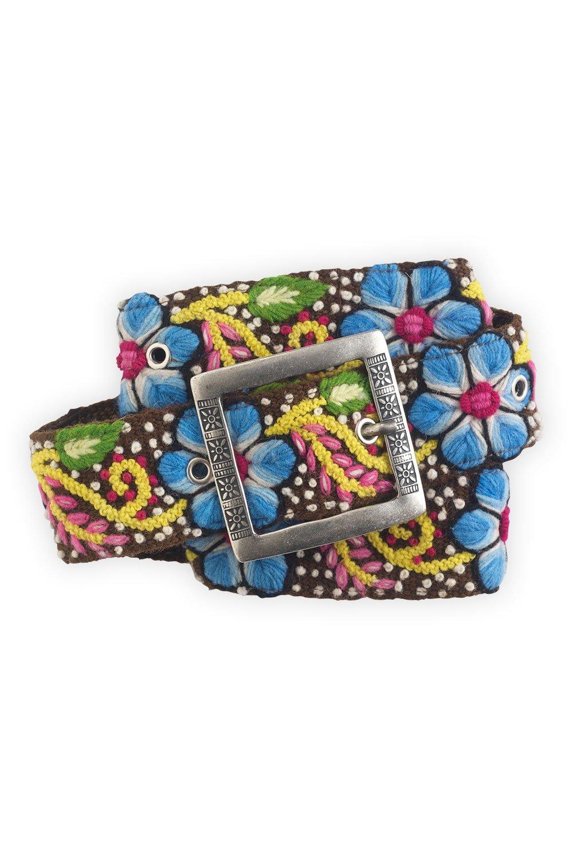 Tey-Art Flora Hand Embroidered Fair Trade Wool Belt (M, Brown)