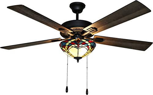 River of Goods 52 Inch Prairie Stained Glass LED Ceiling Fan