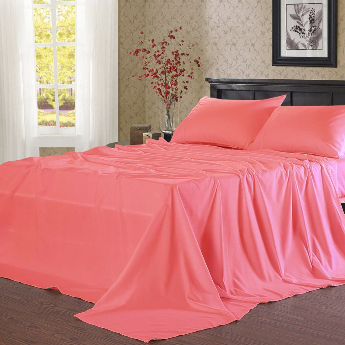 Balichun Microfiber Bed Sheet Set Super Soft Sheets with 18-Inch Deep Pocket, California King, Coral