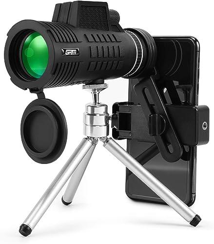GRM Monocular Telescope, 15X50 Zoom HD Monocular with BAK-4 Prism FMC Lens, Telescopic Tripod Smartphone Holder for Bird Wildlife Watching, Hunting, Concert, 2-1640yd Viewing Scope