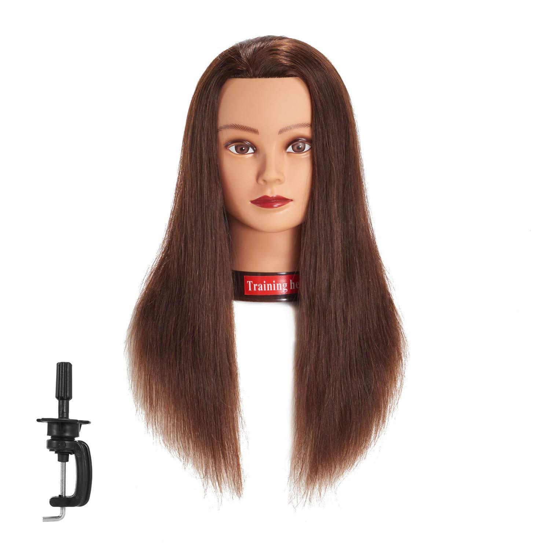 Traininghead 20-22'' Female 100% Human Hair Mannequin Head Hair Styling Training Head Cosmetology Manikin Head Doll Head for Hairdresser with Free Clamp (brown) by training head