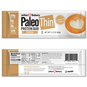 Julian Bakery Paleo Thin Protein Bar | Espresso | Egg White Protein | 20g Protein | 2 Net Carbs | 12 Bars