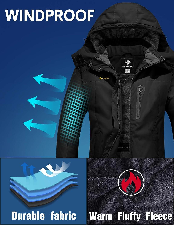 GEMYSE Femme Veste de Ski Imperm/éable de Montagne Manteau dhiver Ext/érieur en Polaire Coupe-Vent avec Capuche