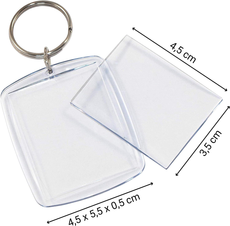 Tiroba 5 Stück Acryl Foto Schlüsselanhänger Mit Schlüsselring Auch Für Passbild Lichtbild Größe 4 5 X 3 5 Cm Leer Schlüsselring Bilderrahmen Küche Haushalt