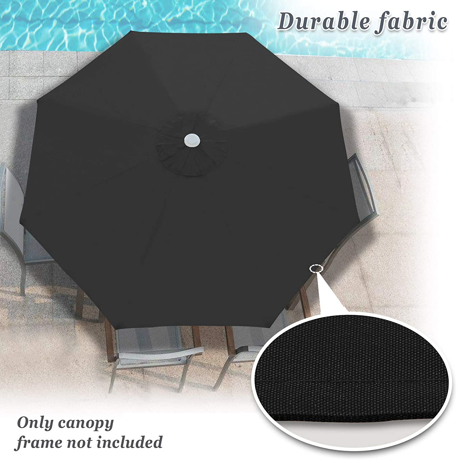 73832a9a05c7 Strong Camel Replacement Patio Umbrella Canopy Cover for 10ft 8 Ribs  Umbrella Taupe (Canopy ONLY) (Black)