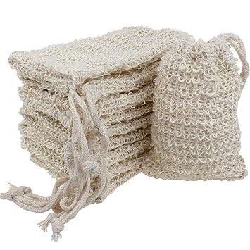6 Pcs Natural Exfoliating Soap Bags Handmade Sisal Soap Bags Natural Sisal Soap Saver Pouch Holder Bath Soap Holder Bags Home Improvement