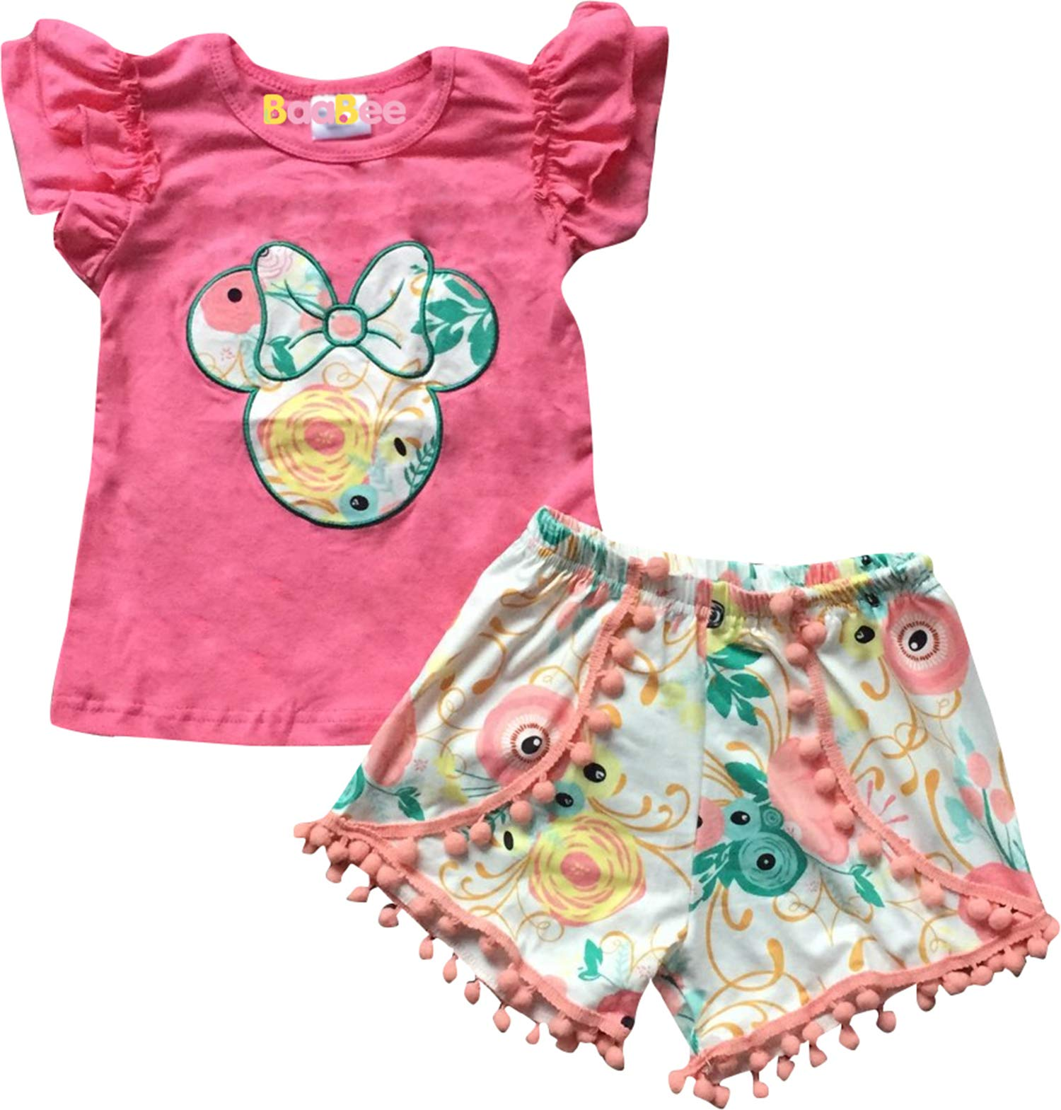 Boutique Little Girls Minnie Mouse Head Floral Top Shorts Outfit Coral 5/XL by AMK (Image #1)