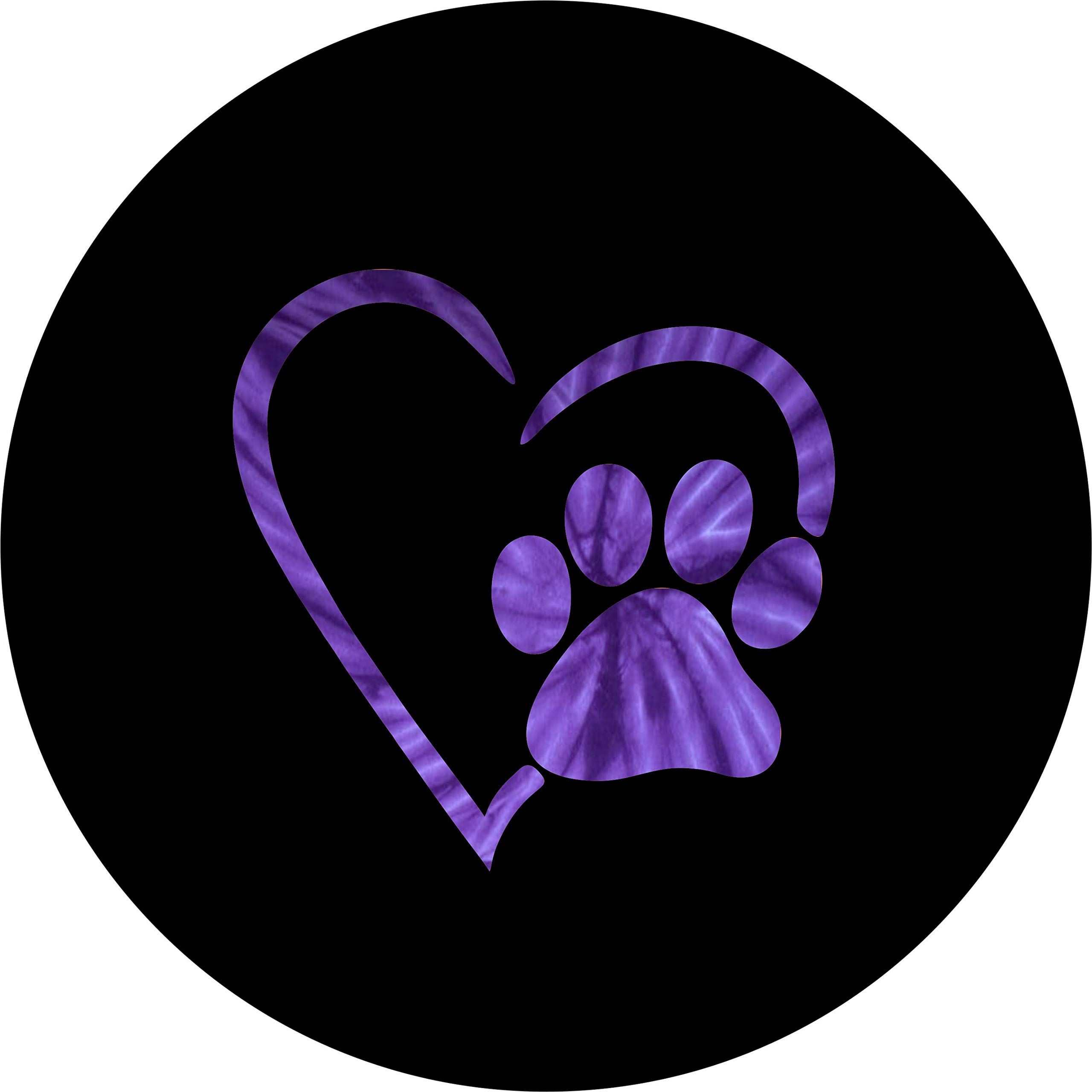 TIRE COVER CENTRAL Paws Love Purple Tie Dye Heart Spare Tire Cover for 265/70r17 fits Camper, Jeep, RV, Scamp, Trailer(Drop Down menu Sizes