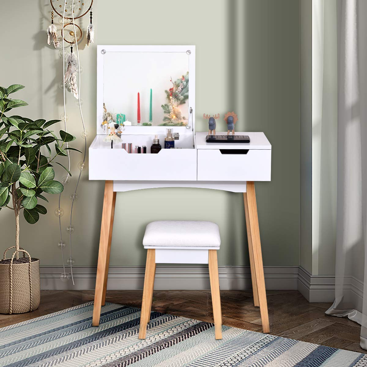 CHARMAID Vanity Table with Flip Top Mirror and Cushioned Stool, Wooden Makeup Dressing Table Writing Desk with Drawer, Bedroom Bathroom Dressing Set for Kids Girls Women, Easy Assembly, White
