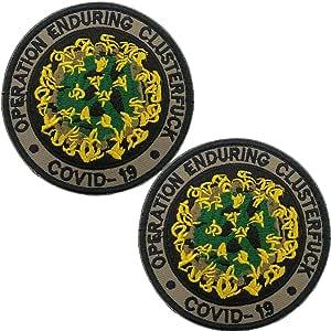 Parche bordado de Operación EnDurable Clusterfck COVID-19 – Emblema táctico militar Moral divertidos parches insignias con cierre de gancho y bucle, 3.15 pulgadas, 2 piezas d: Amazon.es: Hogar