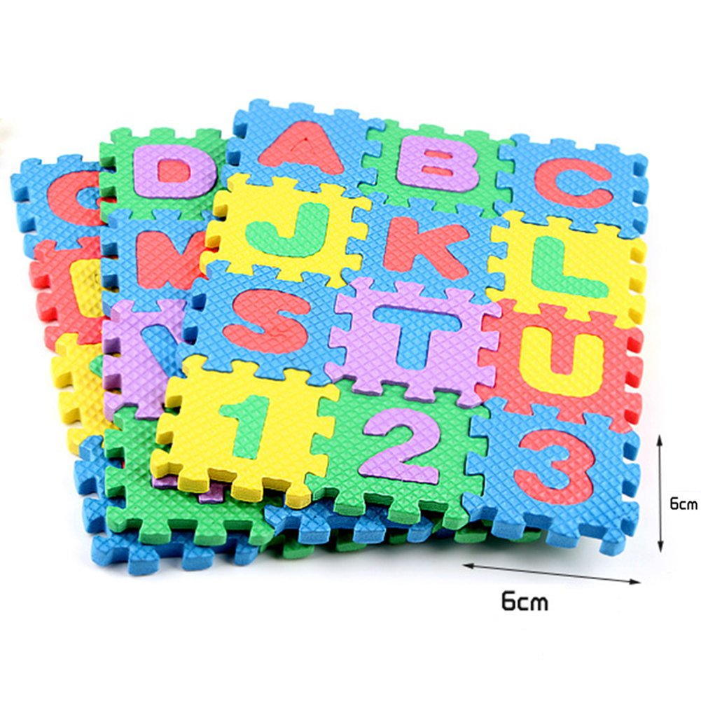36pcs Alphabet Numbers Foam EVA Puzzle Mat Toys for Kids and Babies,Non-Toxic Interlocking Floor Children & Toddler Room Soft EVA Puzzle for Infant Sunny