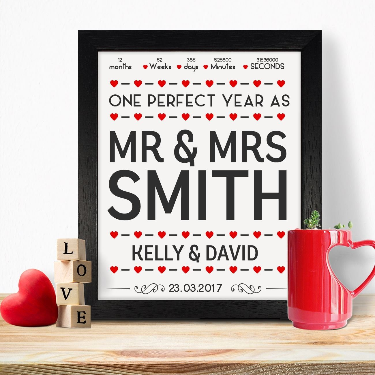 Personalised Presents Gifts For Him Her Husband Wife Couples Boyfriend Girlfriend First Ruby Wedding Anniversary Valentines Day Christmas Xmas Mr And Mrs