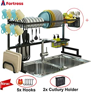 A1 Fortress Over Sink Dish Drying Rack, Drainer Shelf for Kitchen Supplies Storage, Counter Organizer, Utensils Holder, 2 Tier for Kitchen Countertop, Rustless Stainless Steel (Black)