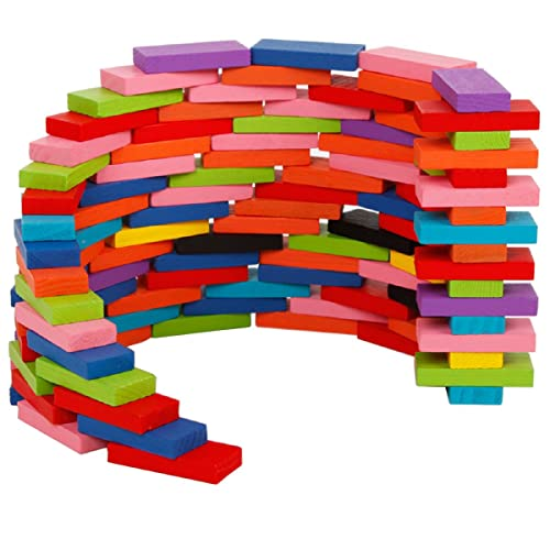 Megadream 240pcs Wooden Domino Colorful Blocks Set Building Kits Educational Racing Toy Game Play Stacking Rally