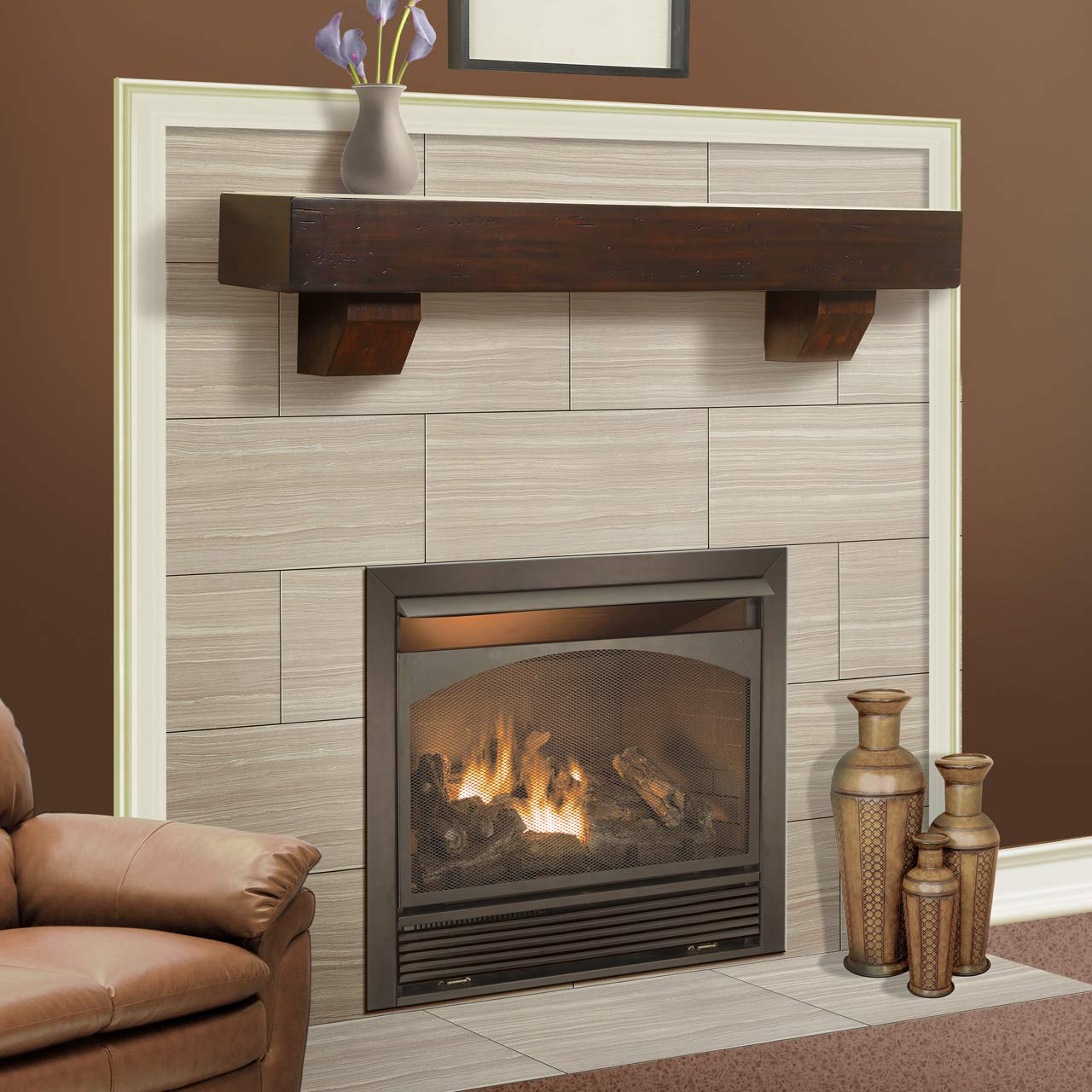 Duluth Forge 60-Inch Shelf Corbels-Chocolate Finish Fireplace Mantel, Large, Brown by Duluth Forge