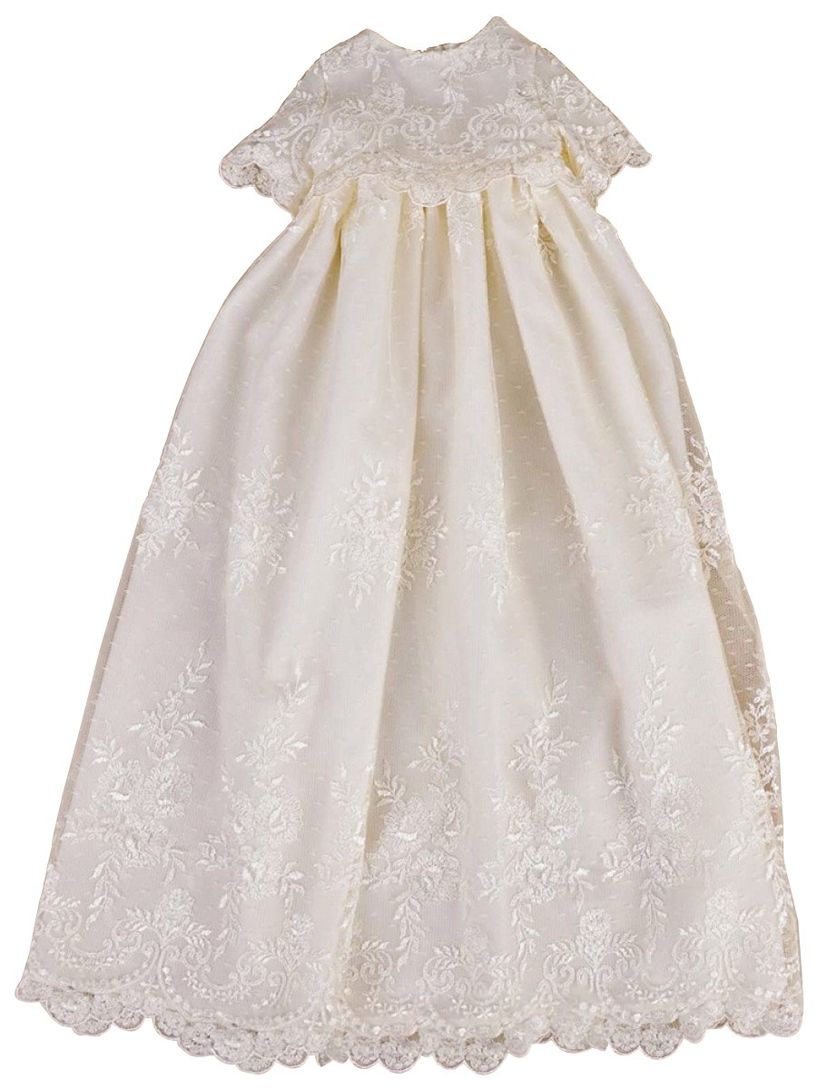 Pretydress White/Ivory Embroidered Satin Christening Dress for Baby Girl (White, Preemie)