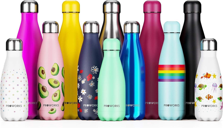 Proworks Botella de Agua Deportiva de Acero Inoxidable | Cantimplora Termo con Doble Aislamiento para 12 Horas de Bebida Caliente y 24 Horas de Bebida Fría - Libre BPA - 500ml y 1L – Tapa Plata