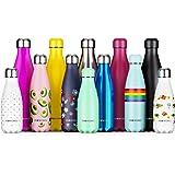 Proworks Botellas de Agua Deportiva de Acero Inoxidable | Cantimplora Termo con Doble Aislamiento para 12 Horas de Bebida Caliente y 24 Horas de Bebida Fría - Libre BPA - 350ml / 500ml / 750ml / 1L