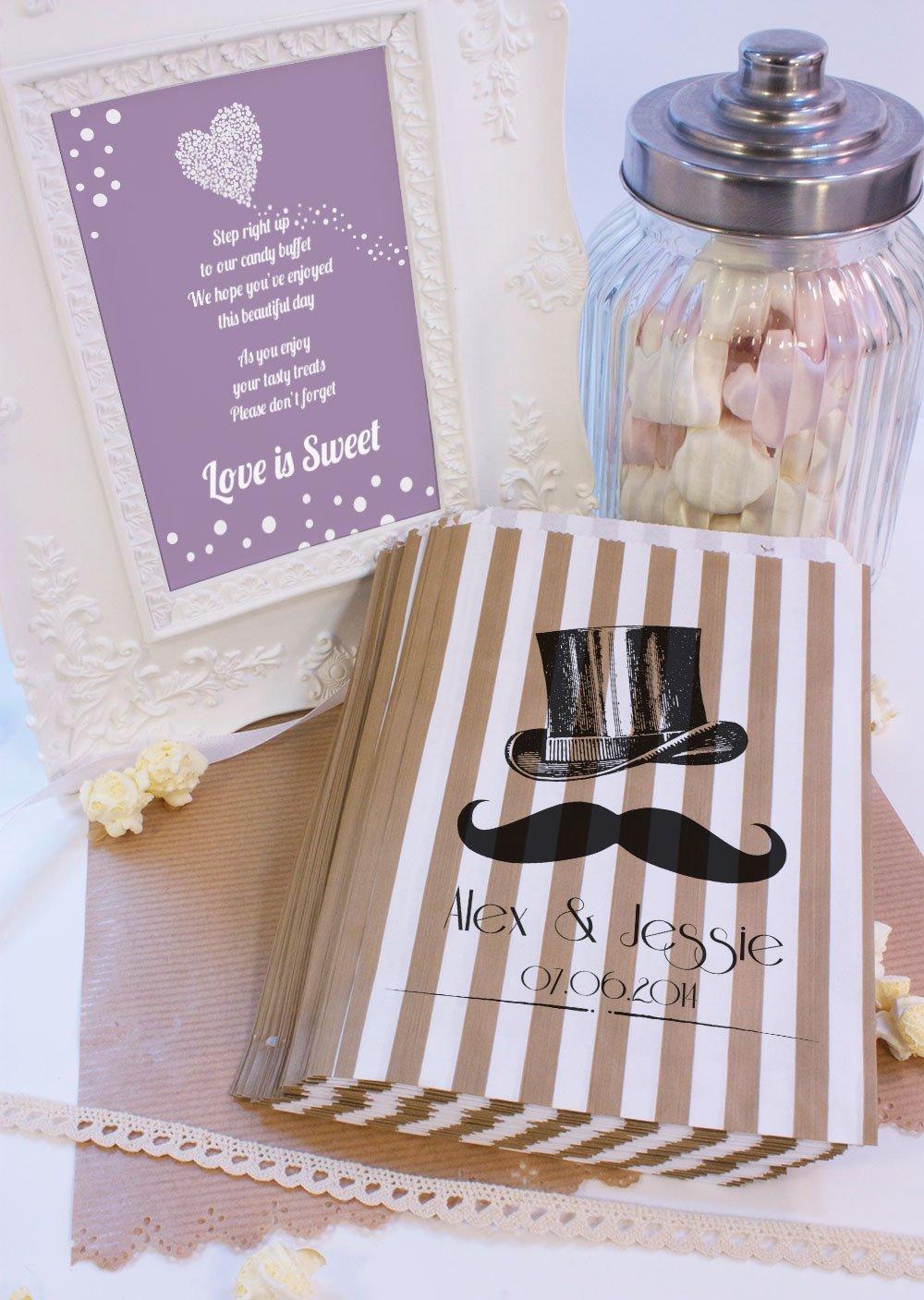 Personalizado boda bolsas de dulces sombrero bigote Candy carro favor de la boda confeti Engagement: Amazon.es: Hogar