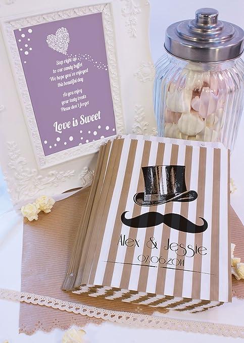 Personalizado boda bolsas de dulces sombrero bigote Candy carro favor de la boda confeti Engagement