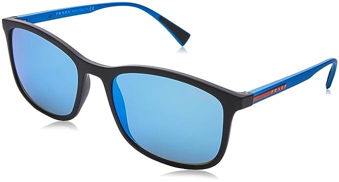 Prada Sport Herren Sonnenbrille 0PS01TS DG05M2, Schwarz (Black Rubber/Light Green Blue), 56