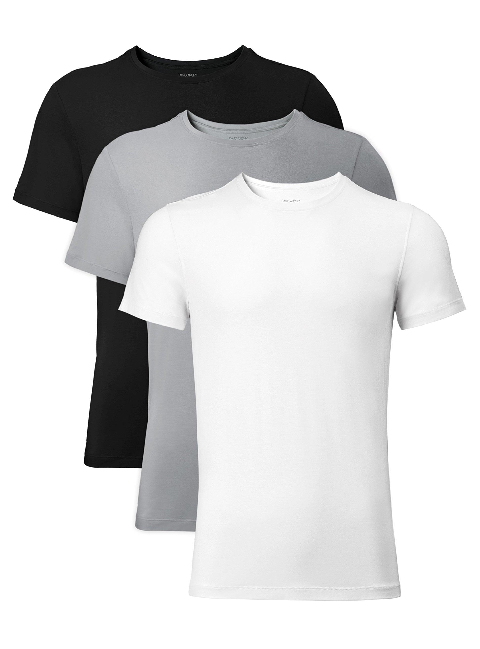 David Archy Men's 3 Pack Bamboo Rayon Undershirts Crew Neck Slim Fit Tees Short Sleeve T-Shirts(S,Black/White/LightGray)