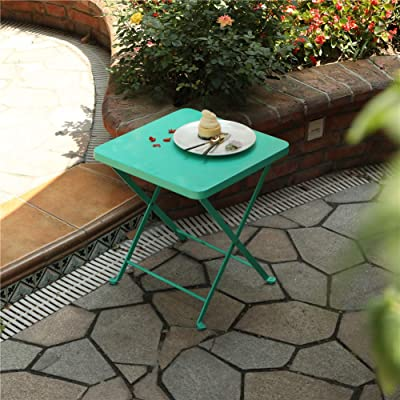 PHI VILLA Outdoor Folding Bistro Table- Patio, Porch Metal Side Table, Turquoise: Kitchen & Dining