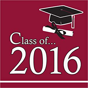Creative Converting 36 Count Class of 2016 Paper Beverage Napkins, Burgundy