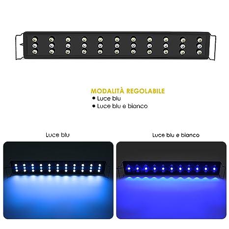 Deckey Luces de Acuarios y Peceras Lámpara LED para Plantas y Estanques LED Longititud Ajustable con 2 Modos de Iluminación y Enchufe EU (75-90cm ...