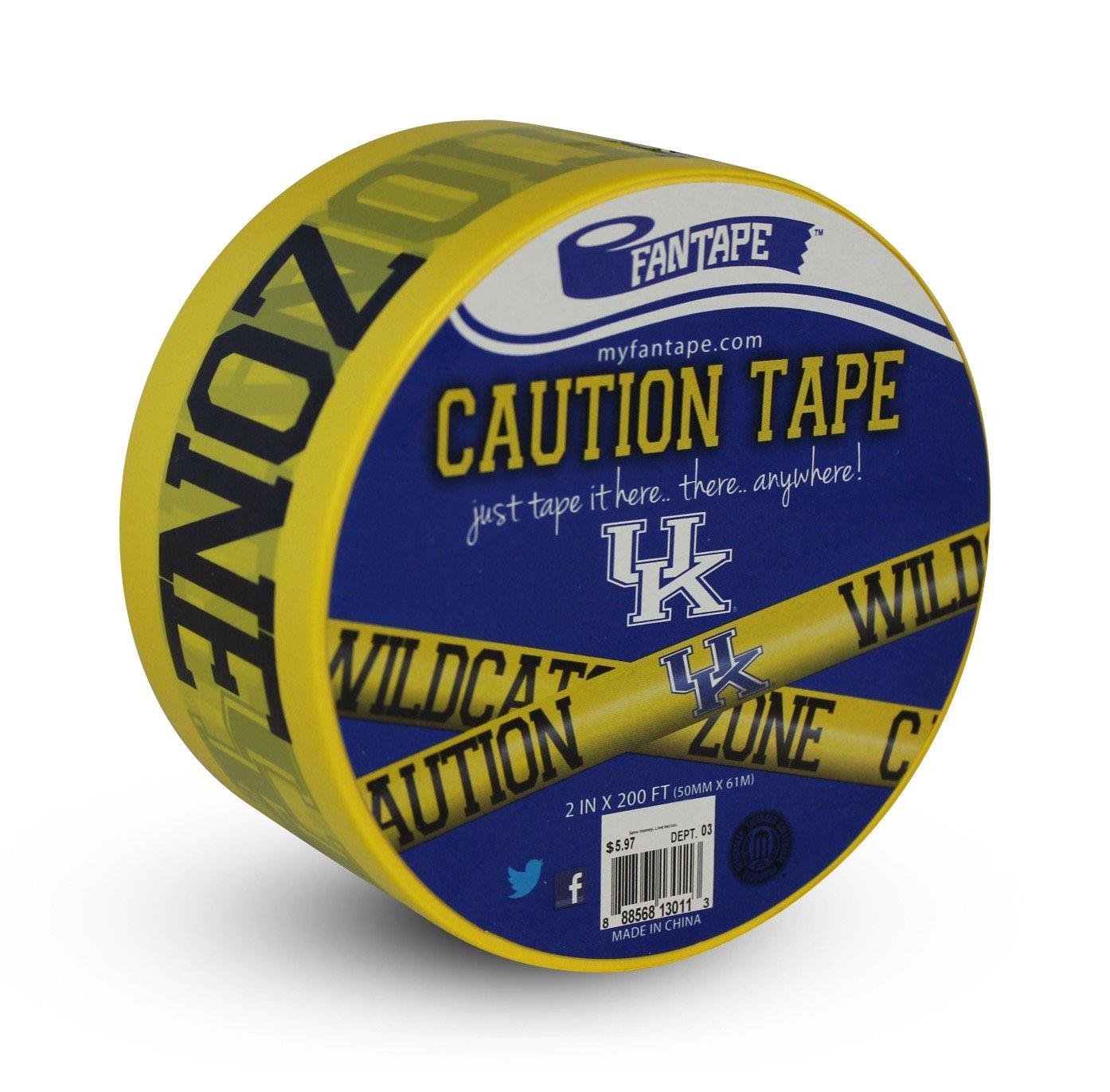 Yellow 2-Inch x 200-Feet FanTape NCAA Kentucky Wildcats Caution Tape with Logo