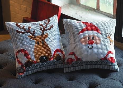 Amazon.com: Juego de 2 Chunky Kits de Navidad Cojín de punto ...