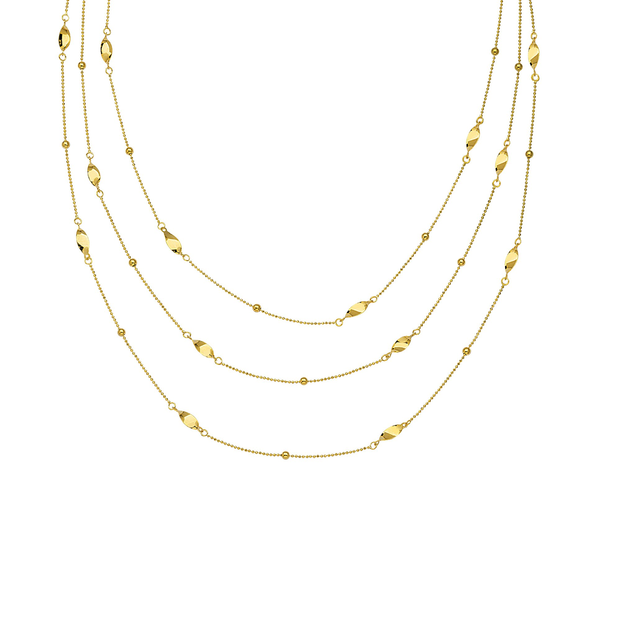 Three Layer Station Style Bib Necklace 14k Yellow Gold with Beads and Twists by AzureBella Jewelry