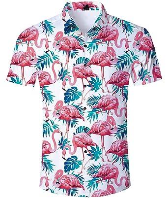 df3cdf6d uideazone Mens Flamingos Shirt Short Sleeve Shirts Beach Holiday Beach  Shirts