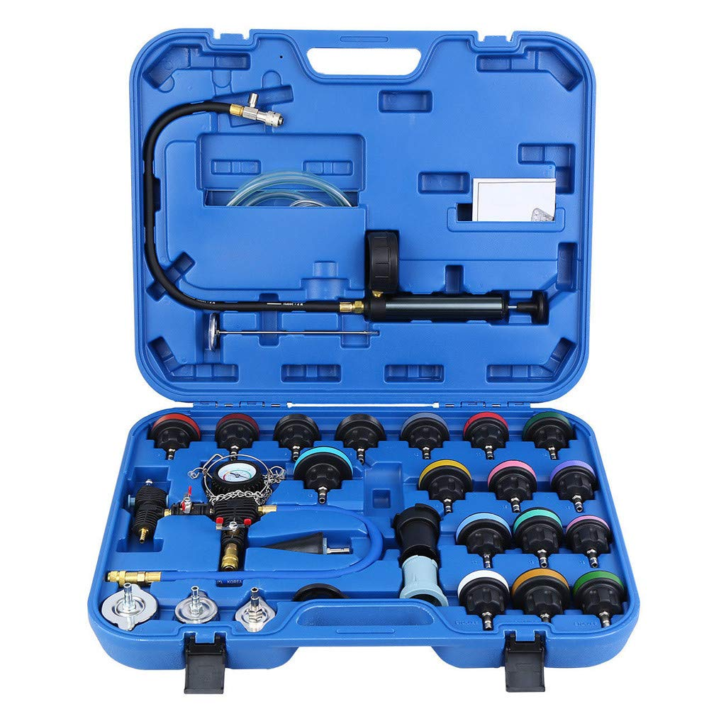 28pcs Universal Radiator Pressure Tester, Vacuum Type Cooling System Tool Kit with Case, Automotive Radiator Pressure Test Kit Cooling System Purge and Refill Kit (Blue)