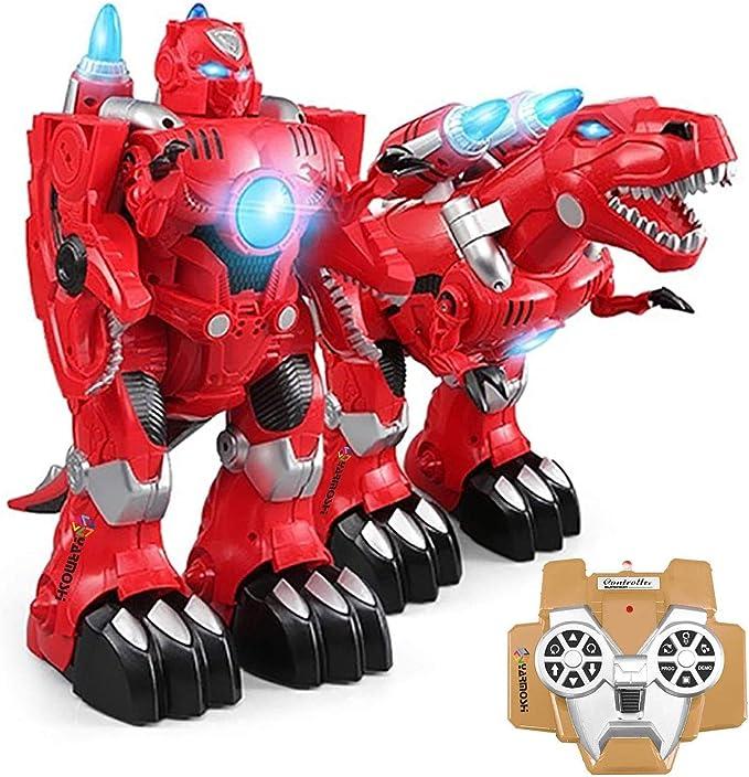 SKAJOWID Dos En Uno Deformación Robot, Robot Dinosaurio con Control Remoto Y Cargador USB - Se Enciende, Dispara Misiles, Reproduce Música Y Danzas - Regalo Emocionante para Niños Y Niñas: Amazon.es: Deportes