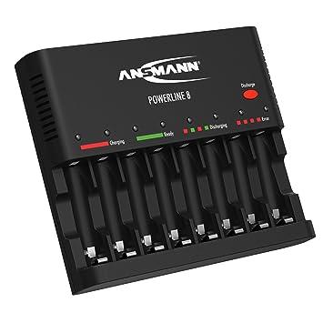 ANSMANN Cargador de pilas recargables Powerline 8 - Cargador universal con 8 ranuras - Estación de carga rápida para AA AAA y con puerto USB