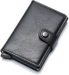 Slim leather pop-up credit card wallets cards holder   Black