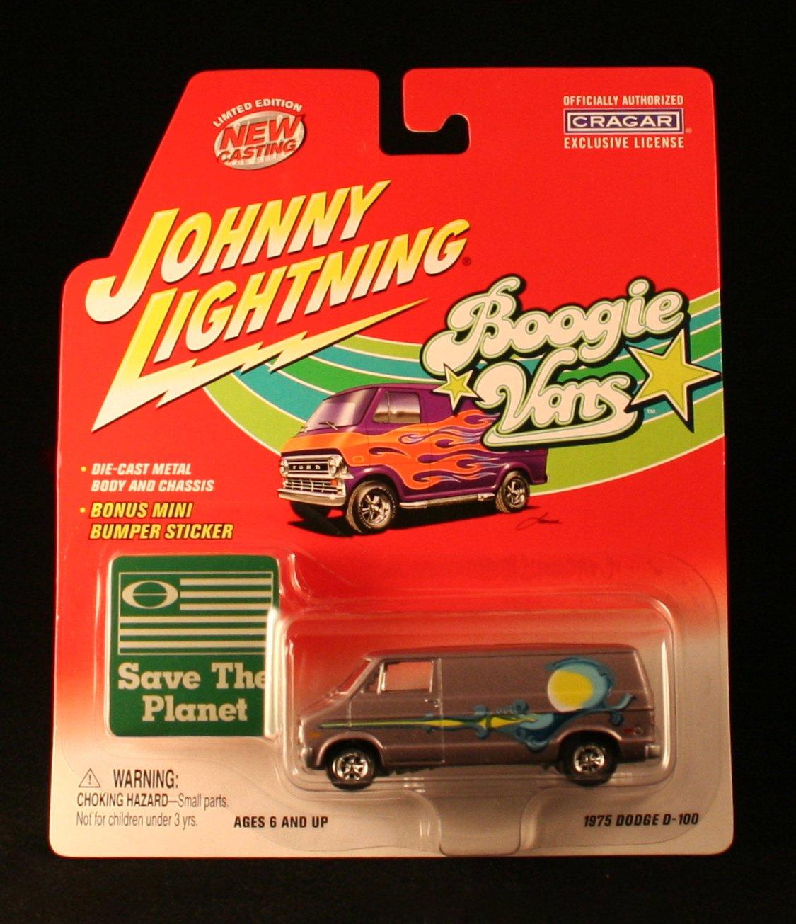 1975 DODGE D100)  SILVER  Johnny Lightning 2002 BOOGIE VANS Release One 1 64 Scale Die Cast Vehicle