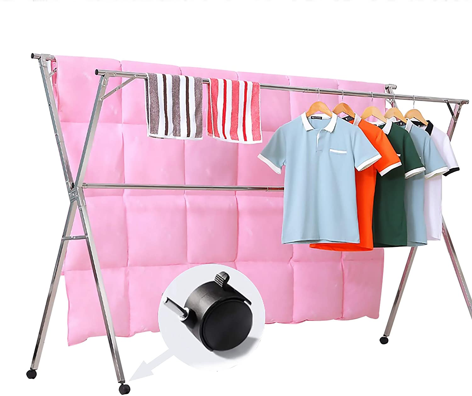 Reliancer Free Installed Clothes Drying Rack Stainless Steel Foldable Rack Hanger Space Saving Retractable 43 3 59 Inch Clothes Rack Adjustable Clothes Hanger Rolling Rack With 4 Casters 10 Hooks Kitchen Dining