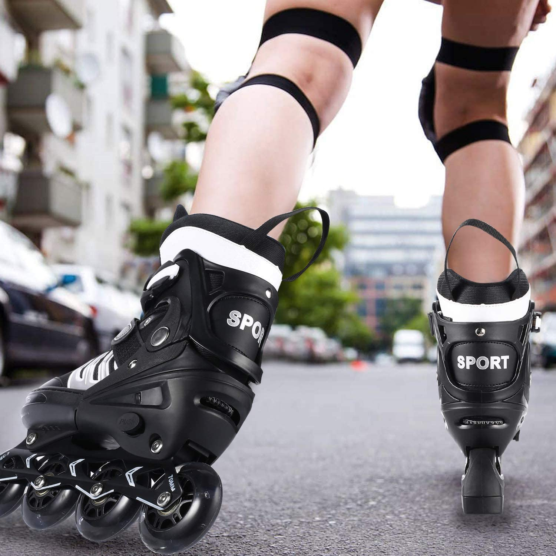 ANCHEER Inline Skates Adjustable Kids Inline Skates Teens Roller Skates for Girls Boys Size 12-8 Aggressive Urban Toddler Skating Renewed