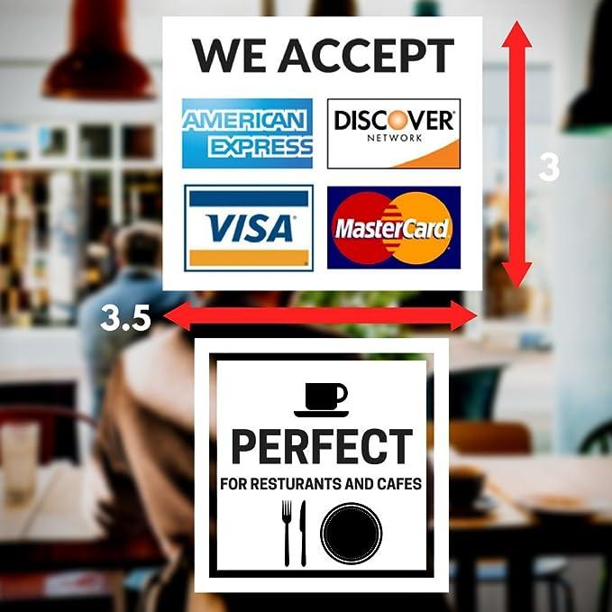 Carte de Cr/édit En vinyle autocollant/ Amex et D/écouvrez/ /Lot de 2/ Mastercard /Bou /Visa /8,9/x 8,9/cm en vinyle pour fen/être/ /nous Accepter/