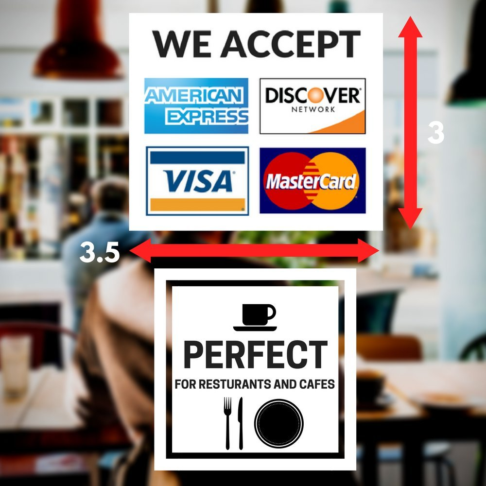 amazon com credit card vinyl sticker decal 2 pack we accept visa mastercard amex and discover 3 5 x 3 5 vinyl decal for window shop cafe