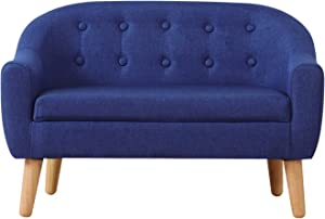 Kids Sofa Couch,Linen Fabric 2-Seater Upholstered Chair with Wooden Legs,Perfect for Children Gift(30-Inch) (Blue)
