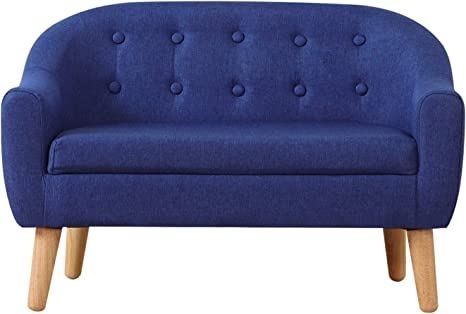 Amazon.com: Kids Sofa Couch,Linen Fabric 2-Seater Upholstered Chair With Wooden Legs,Perfect For Children Gift(30-Inch) (Blue): Kitchen & Dining