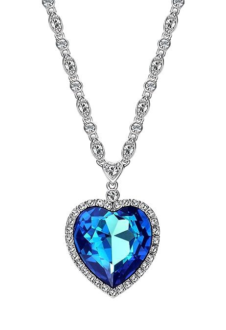 2e099a2f8e06a ananth joyas Swarovski Cristal Azul Corazón del Océano Titanic colgante  collar joyería para las mujeres  Amazon.es  Joyería