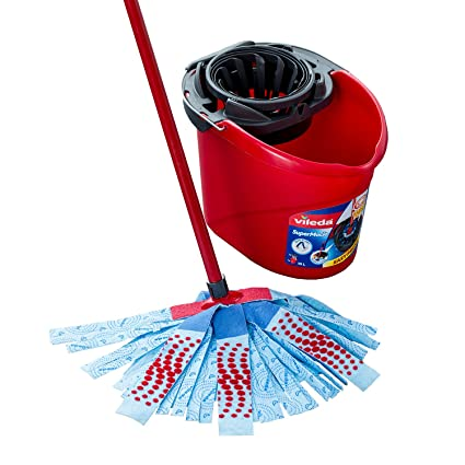 Vileda SuperMocio XL 3 Action Mop und Eimer Set, Plastik, Red/Grey/Blue, 6 x 15 x 117 cm